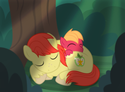 Size: 3029x2234 | Tagged: artist:badumsquish, badumsquish is trying to murder us, big macintosh, bright mac, colt, crepuscular rays, cuddling, cute, daaaaaaaaaaaw, derpibooru exclusive, duo, earth pony, equestria's best father, eyes closed, father and son, forest, freckles, like father like son, macabetes, male, nap, pony, safe, show accurate, sleeping, smiling, snuggling, stallion, tree, unshorn fetlocks, weapons-grade cute, younger