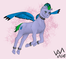 Size: 3000x2700 | Tagged: safe, artist:0-van-0, idw, cirrus cloud, pegasus, pony, friends forever, spoiler:comic, spoiler:comicff18, choker, cutie mark, dyed feathers, dyed mane, dyed tail, female, looking at you, mare, piercing, spread wings, wings