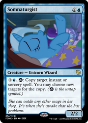 Size: 375x523 | Tagged: safe, edit, starlight glimmer, trixie, pony, unicorn, road to friendship, blanket, ccg, duo, female, hammock, magic the gathering, mare, on back, sleeping, trading card, trading card edit