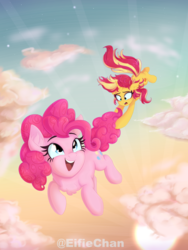 Size: 3000x4000 | Tagged: safe, artist:katakiuchi4u, pinkie pie, sunset shimmer, earth pony, pony, unicorn, chest fluff, cloud, crepuscular rays, cute, diapinkes, ear fluff, falling, female, floppy ears, flying, frown, hoof hold, in which pinkie pie forgets how to gravity, looking up, mare, open mouth, pinkie being pinkie, pinkie physics, scenery, sky, smiling, tail, tail hold, tail pull, wat, wide eyes, windswept mane