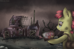 Size: 2400x1600 | Tagged: safe, artist:jesterpi, apple bloom, applejack, big macintosh, granny smith, alternate timeline, apocalypse, ashlands timeline, bad future, bag, barren, broken, brown, crying, cutie mark crusaders, dead tree, depressing, destruction, dirty, dystopia, farm, female, future, gray, implied genocide, mare, memories, photo, post-apocalyptic, remember, ruins, sad, standing, travelling, tree, wasteland