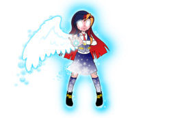Size: 1024x710 | Tagged: android, artificial wings, artist:crydius, augmented, aura, battle mode, clothes, collar, equestria girls, female, glow, glowing eyes, gradient hair, gynoid, headband, magic, magical lesbian spawn, magic wings, necktie, oc, oc:gamma, oc only, offspring, one winged angel, outstretched arm, parent:sci-twi, parents:scitwishimmer, parent:sunset shimmer, robot, safe, scientific lesbian spawn, shoes, simple background, skirt, snow, snowflake, socks, solo, transparent background, vest, weapon, wings