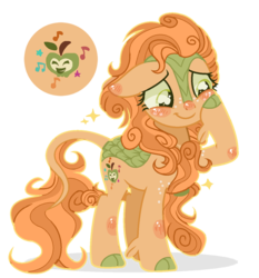 Size: 1237x1329 | Tagged: safe, artist:6-fingers-lover, oc, hybrid, kirin, sounds of silence, cloven hooves, colored hooves, cutie mark, female, hoof on cheek, kirin hybrid, kirin oc, magical lesbian spawn, offspring, parent:applejack, parent:autumn blaze, parents:autumnjack, simple background, solo, transparent background