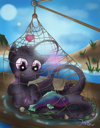 Size: 1500x1925 | Tagged: safe, artist:jesterpi, oc, oc only, oc:deep lilly, angler fish, fish, merpony, angler seapony, captured, day, female, fishing, fishing net, glare, glow, heart, holes, island, mare, net, ocean, puddle, seaweed, shells, smiling, tail, wet