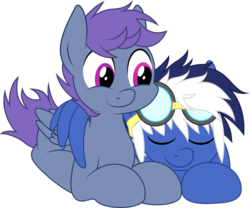Size: 1280x1066 | Tagged: artist:mysteriouskaos, cuddling, cute, oc, oc:blue blaze, oc only, oc:windy dripper, safe, simple background, sticker, transparent background, vector