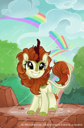 Size: 2342x3581 | Tagged: safe, artist:xsidera, autumn blaze, kirin, sounds of silence, awwtumn blaze, cloud, cloudy, cloven hooves, cute, featured image, female, fluffy, fluffy mane, forest, grin, kirinbetes, leonine tail, looking at something, looking up, mare, mountain, rain, rainbow, rock, scene interpretation, scenery, signature, smiling, solo, song, squee, tree, weapons-grade cute, xsidera is trying to murder us