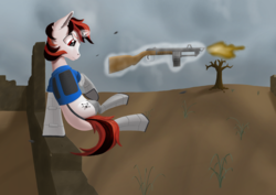 Size: 3508x2480   Tagged: safe, artist:settop, oc, oc only, oc:blackjack, cyborg, pony, unicorn, fallout equestria, fallout equestria: project horizons, armor, augmented, clothes, cloud, cloudy, cyber legs, dead tree, fanfic, fanfic art, female, glowing horn, gun, hooves, horn, levitation, magic, mare, pipbuck, security armor, shotgun, solo, telekinesis, tree, vault security armor, vault suit, wasteland, weapon