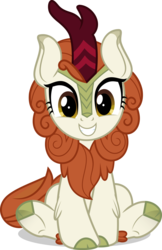 Size: 1024x1576 | Tagged: safe, artist:jhayarr23, autumn blaze, kirin, sounds of silence, awwtumn blaze, chest fluff, cloven hooves, cute, female, grin, hnnng, kirinbetes, leg fluff, looking at you, simple background, sitting, smiling, solo, squee, transparent background, underhoof, vector, weapons-grade cute
