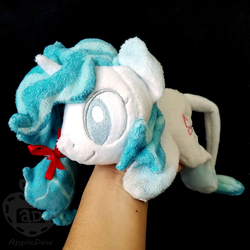 Size: 1000x1000   Tagged: safe, artist:appledew, oc, oc only, oc:azure, pony, unicorn, beanie (plushie), female, gradient ears, gradient hooves, hand, horn, irl, leonine tail, mare, photo, plushie, prone, solo