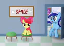 Size: 4201x3040 | Tagged: dead source, safe, artist:comfydove, apple bloom, minuette, twilight sparkle, earth pony, pony, unicorn, bow, chair, cute, dentist, female, filly, hair bow, looking at each other, mare, open mouth, raised hoof, sitting, smiling