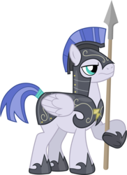 Size: 4280x5890 | Tagged: absurd res, armor, artist:90sigma, frown, guard, hearth's warming eve (episode), helmet, hoof shoes, male, pegasus, pegasus tribe, pony, safe, simple background, solo, spear, stallion, .svg available, transparent background, vector, weapon