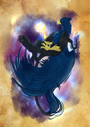 Size: 2480x3507 | Tagged: artist:thehavanawolf, beak, griffon, griffon oc, male, oc, oc:corsair, oc:eid, paws, safe, solo, stars, tail, talons, tangible heavenly object, wings
