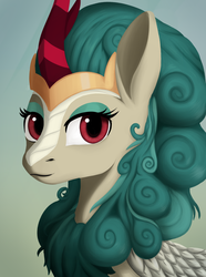 Size: 1560x2100 | Tagged: safe, artist:phi, rain shine, kirin, sounds of silence, crown, cute, eyeshadow, female, horn, jewelry, makeup, queen, regalia, shineabetes, simple background, solo