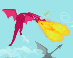 Size: 618x493   Tagged: safe, screencap, dragon, dragon quest, background dragon, cropped, fire, fire breath, flying, sky, solo focus
