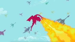 Size: 1345x755   Tagged: safe, screencap, carnelian, karst, dragon, dragon quest, background dragon, dragon migration, fire, fire breath, flying, migration, sky