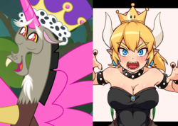 Size: 828x589 | Tagged: artist needed, safe, derpibooru exclusive, discord, human, blonde, bowser, bowsette, collar, comparison, crown, cute, discorn, discute, duo, eyebrows, facial hair, fake horn, fake wings, fangs, goatee, happy, horns, jewelry, open mouth, princess discord, regalia, sharp teeth, snaggletooth, spiked collar, super crown, super mario bros., teeth