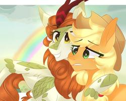 Size: 1000x800   Tagged: safe, artist:waterz-colrxz, applejack, autumn blaze, earth pony, kirin, pony, sounds of silence, a kirin tale, cowboy hat, duo, freckles, hat, rainbow, scene interpretation, stetson