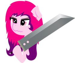 Size: 976x824 | Tagged: safe, oc, oc only, oc:blade keeper, buster sword, cute, pink eyes, she's not edgy she's adorable, simple background, solo, sword, transparent background, two toned mane, weapon