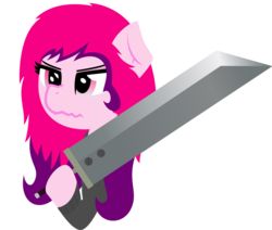 Size: 2045x1731 | Tagged: safe, oc, oc only, oc:blade keeper, buster sword, clothes, cute, hoodie, pink eyes, she's not edgy she's adorable, simple background, solo, sword, transparent background, two toned mane, weapon