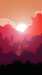Size: 1080x1920 | Tagged: safe, artist:probaldr, background, canterlot, forest, lens flare, lineless, mountain, no pony, scenery, sun, sunrise, tree, wallpaper