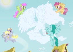Size: 7000x5000 | Tagged: absurd res, artist:mundschenk85, cloud sculpting, derpy hooves, dinky hooves, dizzy twister, merry may, orange swirl, pony, princess celestia, safe, spring melody, sprinkle medley, vector