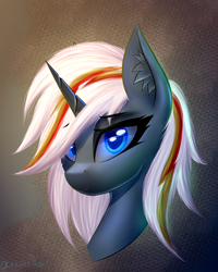 Size: 800x1000 | Tagged: artist:xeniusfms, blue eyes, bust, fallout equestria, fanfic art, female, looking at you, mare, oc, oc:velvet remedy, pony, safe, smiling, solo, unicorn, wrong eye color