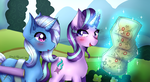 Size: 2500x1363 | Tagged: safe, artist:mylittleyuri, starlight glimmer, trixie, pony, unicorn, road to friendship, cute, digital art, duo, female, glowing horn, map, mare, redraw, scene interpretation