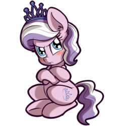 Size: 512x512 | Tagged: safe, artist:anibaruthecat, diamond tiara, earth pony, pony, blushing, explicit source, female, filly, simple background, solo, transparent background