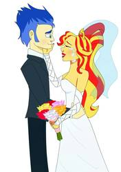 Size: 788x1118 | Tagged: safe, artist:loxotictoxic, flash sentry, sunset shimmer, equestria girls, clothes, dress, female, flashimmer, male, marriage, shipping, straight, wedding, wedding dress