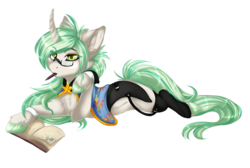 Size: 1300x874 | Tagged: safe, artist:requiem♥, oc, oc only, oc:requiem, pony, unicorn, book, cheek fluff, chest fluff, clothes, ear fluff, fluffy, glasses, green eyes, hooves, long mane, long tail, pencil, simple background, stars, transparent background, white fur