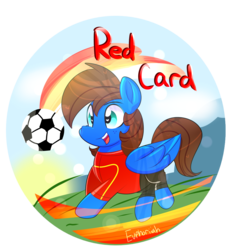 Size: 1915x1991 | Tagged: safe, artist:lynchristina, oc, oc only, oc:red card, pegasus, pony, badge, commission, digital art, football, freckles, happy, male, open mouth, signature, smiling, solo, sports, stallion