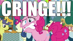 Size: 1280x720 | Tagged: safe, edit, edited screencap, editor:useraccount, screencap, pinkie pie, secrets and pies, bloodshot eyes, cringing, excessive exclamation marks, faic, funny, gritted teeth, image macro, meme, messy mane, reaction image, teary eyes