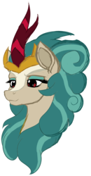 Size: 1702x3275 | Tagged: safe, artist:thatonegib, rain shine, kirin, sounds of silence, bust, character study, crown, eyeshadow, horn, jewelry, looking down, makeup, portrait, red eyes, regalia, simple background, sketch, smiling, transparent background