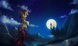 Size: 2760x1620 | Tagged: safe, artist:inowiseei, oc, oc only, oc:cinderheart, pony, unicorn, canterlot, castle, chest fluff, cloud, commission, demi-god, ear fluff, embers, female, flying, full moon, golden eyes, infamous second son, mare, moon, mountain, night, ocean, river, scenery, smoke, solo, sparks, stars, video game reference