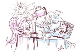 Size: 3314x2301 | Tagged: safe, artist:jowybean, princess celestia, starlight glimmer, trixie, pony, unicorn, cereal, coffee, duo, female, food, hangover, magic, majestic as fuck, mare, monochrome, morning, morning ponies, simple background, sugar (food), table, telekinesis, white background