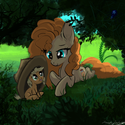 Size: 3000x3000 | Tagged: applejack, arachnid, artist:malajahr, babyjack, brush, cowboy hat, cute, daughter, female, filly, filly applejack, foal, foliage, grass, hat, jackabetes, lying, lying in grass, mare, mlem, mom, mother and daughter, motherly, oversized hat, pearabetes, pear butter, raspberry, relief, relieved, safe, silly, sitting, sky, spider, spider web, star spider, tongue out, tree, weapons-grade cute, younger