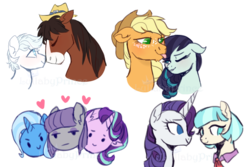 Size: 900x600 | Tagged: safe, artist:lullabyprince, applejack, coco pommel, coloratura, double diamond, maud pie, rarity, starlight glimmer, trixie, trouble shoes, female, gay, heart, lesbian, male, marshmallow coco, mauxie, rarajack, shipping, simple background, starmaud, starmauxie, startrix, tongue out, transparent background