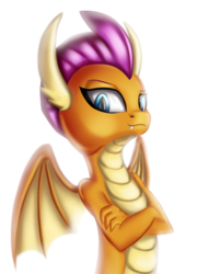 Size: 2520x3500 | Tagged: artist:qbellas, claws, crossed arms, dragon, dragoness, dragon wings, fangs, female, horns, safe, simple background, smolder, solo, spread wings, white background, wings