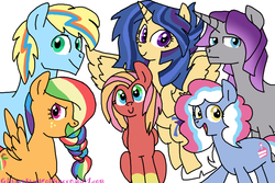 Size: 1800x1200   Tagged: safe, artist:glitterstarwolfqueen, oc, oc only, oc:amethyst geode, oc:confetti cake, oc:northstar sparkle-sentry, oc:pink lady apple, oc:rolling thunder, oc:zap apple, alicorn, earth pony, pegasus, pony, unicorn, alicorn oc, female, freckles, magical lesbian spawn, male, mare, multicolored eyes, next generation, offspring, parent:applejack, parent:big macintosh, parent:flash sentry, parent:fluttershy, parent:maud pie, parent:party favor, parent:pinkie pie, parent:rainbow dash, parent:rarity, parent:twilight sparkle, parents:appledash, parents:flashlight, parents:fluttermac, parents:partypie, parents:rarimaud, rainbow hair, simple background, stallion, white background