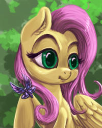 Size: 800x1000 | Tagged: artist:kovoranu, butterfly, female, fluttershy, mare, pegasus, pony, safe, wrong eye color