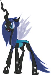 Size: 2120x3059 | Tagged: artist:duskthebatpack, blue changeling, changeling, changeling oc, changeling queen, changeling queen oc, fangs, female, horn, not queen chrysalis, oc, oc only, oc:queen abyss, open mouth, safe, simple background, solo, standing, transparent background, vector, wings