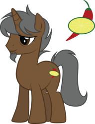 Size: 2286x2997 | Tagged: artist:duskthebatpack, beard, facial hair, horn, male, oc, oc:marron, oc:marrón, oc only, pony, safe, simple background, smiling, solo, stallion, standing, transparent background, unicorn, vector