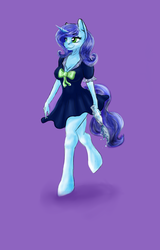Size: 1682x2635   Tagged: safe, artist:jerraldlina, oc, oc only, oc:untitled work, unicorn, anthro, unguligrade anthro, anthro oc, bow, breasts, cleavage, clothes, dress, female, frills, hooves, purple background, simple background, smiling, solo, walking, water, water bottle, ych result