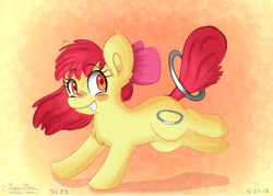 Size: 4900x3500 | Tagged: safe, artist:compassrose0425, apple bloom, earth pony, pony, the cutie pox, abstract background, adorabloom, blushing, chest fluff, cute, ear fluff, female, filly, happy, loop-de-hoop, smiling, solo