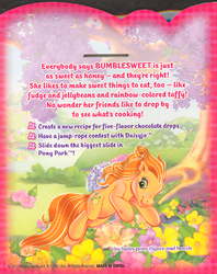 Size: 400x504 | Tagged: safe, bumblesweet (g3), g3, official, athletic, backcard, flower, jumping, leaping, looking back