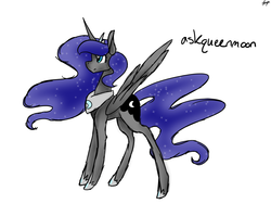 Size: 1280x960   Tagged: safe, artist:ask-azalea-grey, nightmare moon, alicorn, pony, askqueenmoon, ethereal mane, fanart, female, jewelry, mare, regalia, simple background, solo, starry mane, white background