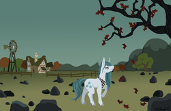 Size: 1971x1280 | Tagged: safe, artist:misskanabelle, cloudy quartz, earth pony, pony, female, loose hair, mare, missing accessory, no glasses, raised hoof, rock farm, solo