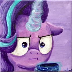 Size: 1024x1027   Tagged: safe, artist:colorsceempainting, starlight glimmer, pony, unicorn, canvas, chocolate, empathy cocoa, female, floppy ears, food, funny face, glowing horn, horn, hot chocolate, i mean i see, levitation, magic, paint, painting, solo, telekinesis, traditional art