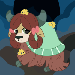 Size: 894x894 | Tagged: safe, artist:rainbowtashie, yona, spider, yak, what lies beneath, bow, cave, cloven hooves, crossover, cute, female, hair bow, joltik, looking at you, monkey swings, pokémon, pokémon black and white, simple background, solo, yonadorable