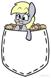 Size: 660x1000   Tagged: safe, artist:typhwosion, derpy hooves, pegasus, pony, eating, female, food, mare, muffin, pocket, pocket pony, raised hoof, simple background, smiling, solo, white background